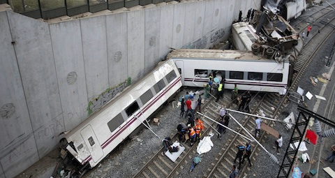 Rescue workers pull victims from train crash near Santiago de Compostela, Spain